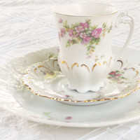 Cottage Style Mismatched Demitasse Tea Cup Trio Set, Tea Party, Antique, Shabby Chic, Wedding, Bridesmaid Gift, Housewarming Gift