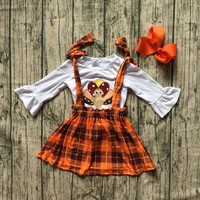 2 designs in stock girls thankgiving clothing top with shirts outfits turkey applique girls thanksgiving party outfits with bows
