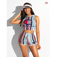 Champion Summer New Fashion Letter Print Stripe Sports Leisure Hooded Vest Top And Shorts Two Piece Suit Women 3#