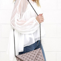Haute Stud Mauve Quilted Purse