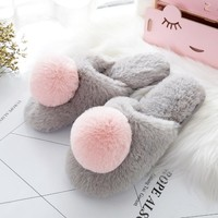 Women Pom Pom Plush Slippers
