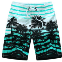Men's Colorful Stripe and Coconut Tree Printing Beach Board Shorts