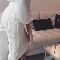 FASHION PURE COLOR KNITTED SKIRT