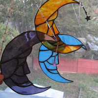 Man in the Moon with crystal star Stained Glass