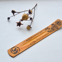 Om Sign Incense Holder - Wooden Yoga Pyrography Gift - Woodburning Incense Stand - Eco Friendly