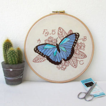 Butterfly hand embroidery, Blue morpho, insect embroidery hoop art, insect wall art, entomology gift for scientist handmade in the UK