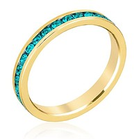 WildKlass Stylish Stackables Turquoise Crystal Gold Ring