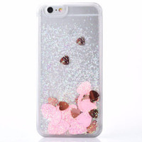 Pink Confetti Glitter Hearts iPhone Case 6, 6s, 6Plus, 6s Plus