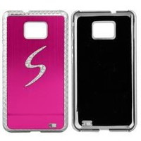 Pink Metal Chrome Bling Rhinestone Case Cover for Samsung Galaxy SII i9100 free shipping