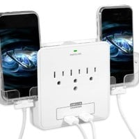 RND Power Solutions Wall Power Station includes 3 AC Plugs and 2 USB ports with Surge Protection and 2 slide-out holders