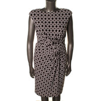 Ralph Lauren Womens Matte Jersey Square Print Wear to Work Dress