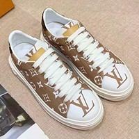 Louis Vuitton LV Sneakers PU Print Contrast Shoes monogram Tail Coffee