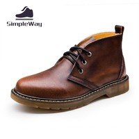 Men casual boots genuine leather large size 45 46 47 ankle desert boots men motorcycle rain boots snow winter outdoor boots