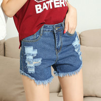 Ripped and Frayed Denim Shorts