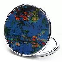 Waterlilies Purse Handbag Cosmetic Magnification Mirror by Monet Parastone 2.75W - blue
