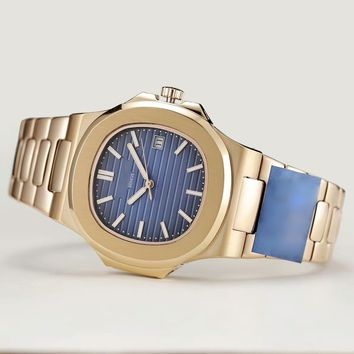 My_TimeZone Luxury brand top high best quality Swiss Automatic Gold/blue model watch