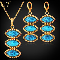 Turkish Jewelry Set For Women Platinum/Gold Plated Turquoise Jewelry , New Trendy Earrings And Necklace Set For Women S696