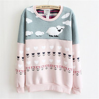 [bunny]Newest style high quality fleece inside warm hoodies women sheep mix color cotton hoodie pink and gray free 8425