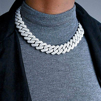Diamond Prong Cuban Link Chain (19mm) in White Gold