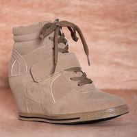 Bucco Same Old Song Lace Up Faux Suede Sneaker Wedges Nicoleed - Taupe