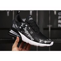 Nike Air Max 270 X LV X Supreme Trending Women Men Personality Air Cushion Sport Running Shoe Sneakers Black I-AHXF