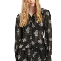 Women's Topshop Archive Collection Flower Print Sheer Blouse,