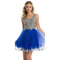 Lace Applique Bodice Royal Blue Homecoming Short Dress