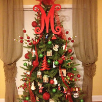 Monogram Christmas Tree Topper, Front Door Letter, Letter for Wreath, Initial, Signage, Wedding Decor, Holiday Decor