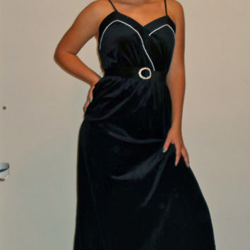 60s Velvet Full Length Gown/ Wrap Around Belted Pearl Retro Prom Dress