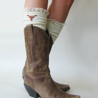 Lacey Fan Collegiate Boot Socks IVORY cable knit boot sock with lace and school logo   (Item no.12-30 )