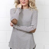Striking Stripes w/ Suede Elbow Patches L/S {Navy+White}