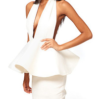 Sexy Cut V Neck White Party Bandage Dress