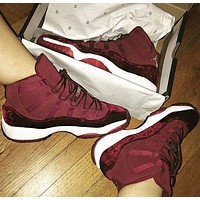Air Jordan 11 Velvet Retro Men Casual Sneakers Sport Basketball Shoes Burgundy