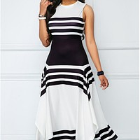 Round Collar Sleeveless Stripe Maxi Dress