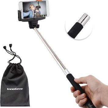 InnoGear Selfie Stick with Bluetooth Remote Button Shutter Extendable Self Portraits Pole Handheld Monopod for Samsung Galaxy Note 3 2 S5 S4 S3 iPhone 6 6 Plus 5 5S 5C 4 4S (Black)