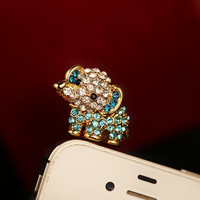 Cute Rhinestone Baby Elephant Plugy for iPhone KLJ96