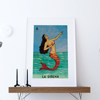Loteria La Sirena Mexican Retro Illustration Art Print Vintage Giclee on Cotton Canvas and Paper Canvas Poster Wall Decor