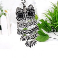 Leegoal Vintage, Retro Owl Pendant and Chain with Antiqued Silver Tone Finish