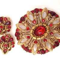 Vintage Florenza Brooch and Earring Demi