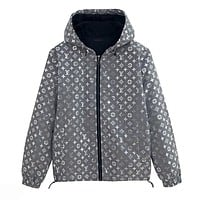 LV Louis Vuitton Women Men Reflective Hoodie Zipper Jacket Coat Windbreaker Sportswear Grey