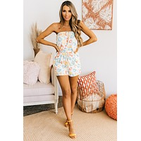 Sun Sand And Surf Strapless Romper (Off White/Mint/Yellow)