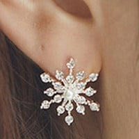 hot sale new  Fashion twinkling Crystal Rhinestone creative   lovely  Snowflake Vintage  Star Ear  Stud Earring Wedding Bridal Gift Jewelry fashion  jewelery  Accessories   for ladies and girls (With Thanksgiving&Christmas Gift Box)= 1946716356