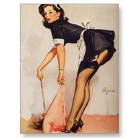Vintage Retro Gil Elvgren Pin Up Girl Postcard from Zazzle.com