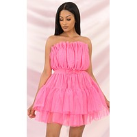 Sugar Plum Fairy Pink Strapless Tulle Ruffle Bow Waist Flare A Line Mini Dress