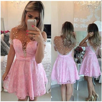 Pink Lace Homecoming Dresses,Short Sleeves Homecoming Dresses,Homecoming Dress