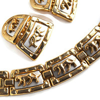 Chunky Necklace & Earrings Set with Wild Cats,Gold and Silver Tone Choker or Collar with Clip Earrings,Vintage Demi Parure,Egyptian Revival