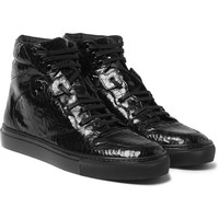 Balenciaga - Patent-Leather High-Top Sneakers   MR PORTER
