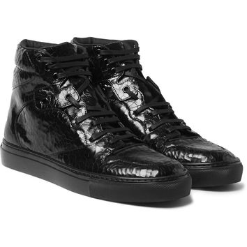 Balenciaga - Patent-Leather High-Top Sneakers | MR PORTER