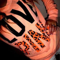 Victoria's Secret PINK Women's Fashion Letter Print Round neck Long-sleeves Pullover Tops T-shirt