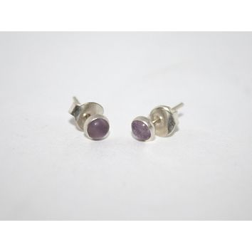 Sterling Silver Earrings, Stud Earring, Amethyst Earring